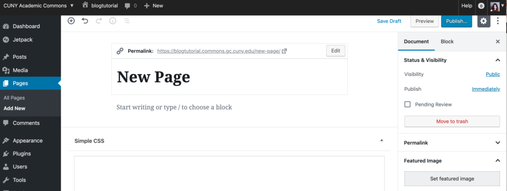 New Page Backend