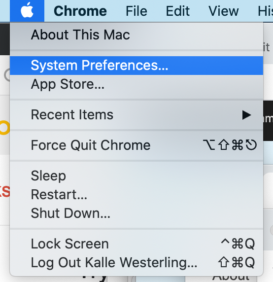 "Shows how to choose ""System Preferences"" from the Apple menu."