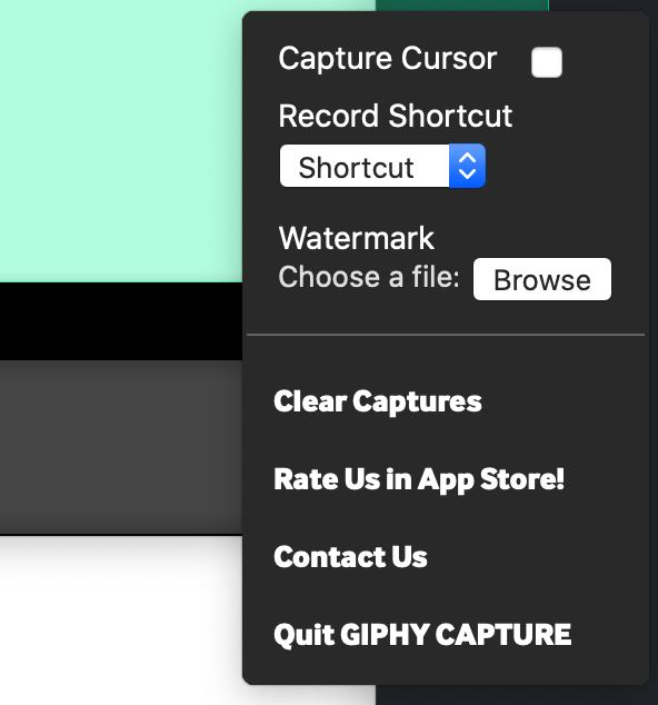 "Showing the options, among them ""Capture Cursor,"" for the window that captures GIFs in Giphy Capture."
