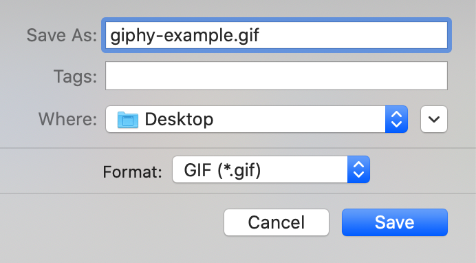 Dialog for saving the file when exporting in Giphy Capture.